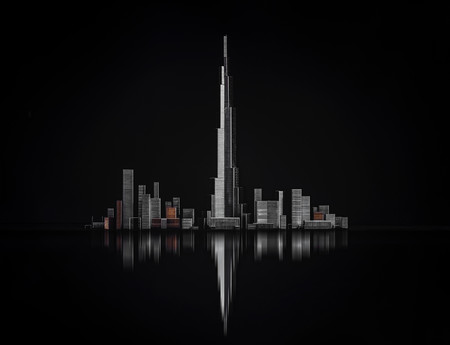 Based on an image of the Burj Khalifa skyscraper and surrounding skyline in Dubai, United Arab Emirates, this still life was made out of staples of various sizes. The staples were positioned on black glass with a black background, and lit via three independent sources.     Copyright: © Antonio Bernardino Coelho, Portugal, Winner, National Awards, 2020 Sony World Photography Awards