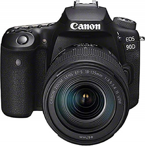 Canon EOS 90D - Cámara Réflex de 32.5 MP (Sensor APS-C, 45 Puntos AF, Disparos de 10fps, EOS Movie 4k+Full HD, Wi-fi, Bluetooth) Negro - Kit Cuerpo con Objetivo EF-S 18-135mm f/3.5-5.6 IS USM