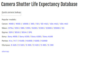 Camera Shutter Life Expectancy Database