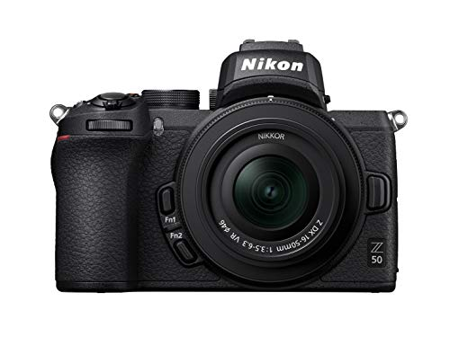 Nikon Z50 - Cámara DX Mirrorless, 11 FPS, Vídeo 4K, Pantalla Táctil abatible, Kit Cuerpo con Objetivo 16-50 DX VR, Color Negro